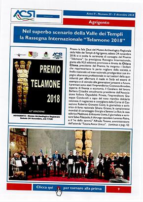 """Articolo che riporta la notizia dell'assegnazione del Premio """"Telamone"""" 2018 ad E.B."""