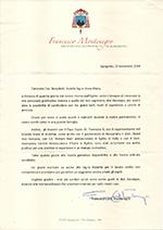 Lettera del Cardinale di Sicilia, S.E. Montenegro al Presidente della S.I.B.