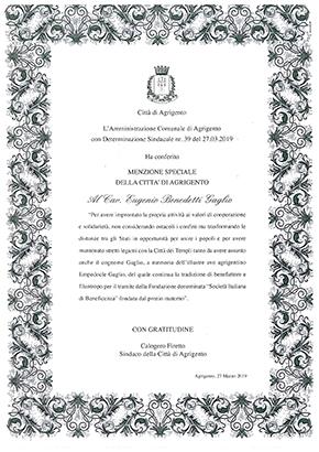 Menzione Speciale che la città di Agrigento ha conferito ad E.B.