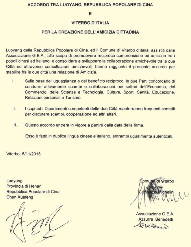 Protocollo di gemellaggio tra la G.E.A., il Municipio di Viterbo e il Governatorato di Luoyang, documento in Italiano