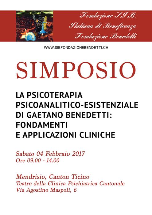 Locandina del Simposio della S.I.B. del 4 febbraio 2017 sul metodo psicoterapeutico di Gaetano Benedetti (realizzaz. Giulia Belfiori)