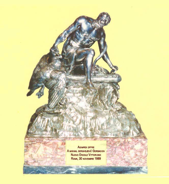 Statuetta celliniana, dono dell'Agimpex a Mihail S. Gorbaciov, Presidente dell'U.R.S.S.: 30 novembre 1989