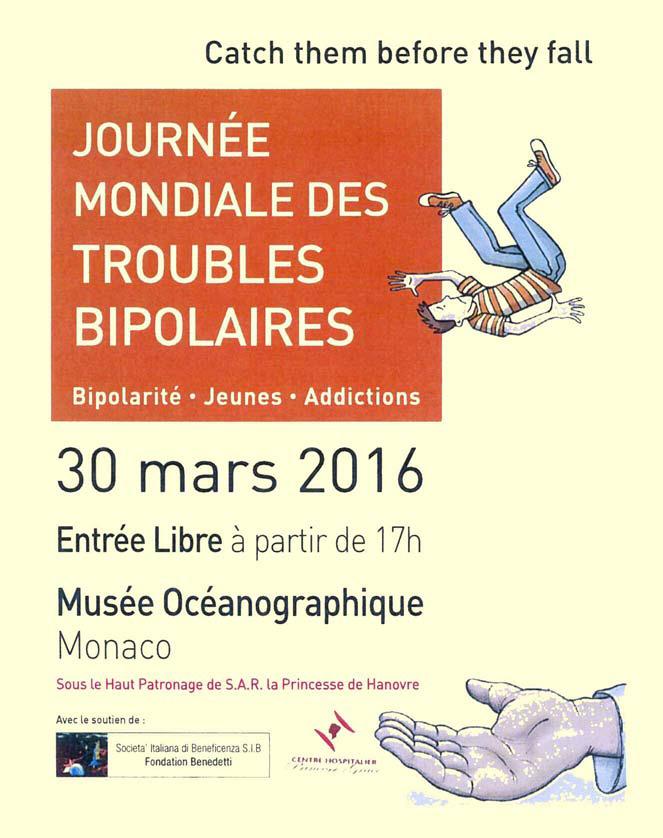 Fronte del volantino dedicato al Simposio della S.I.B. per la Giornata Mondiale dei Disturbi Bipolari