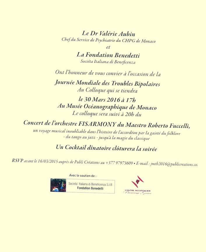 Retro del volantino dedicato al Simposio della S.I.B. per la Giornata Mondiale dei Disturbi Bipolari